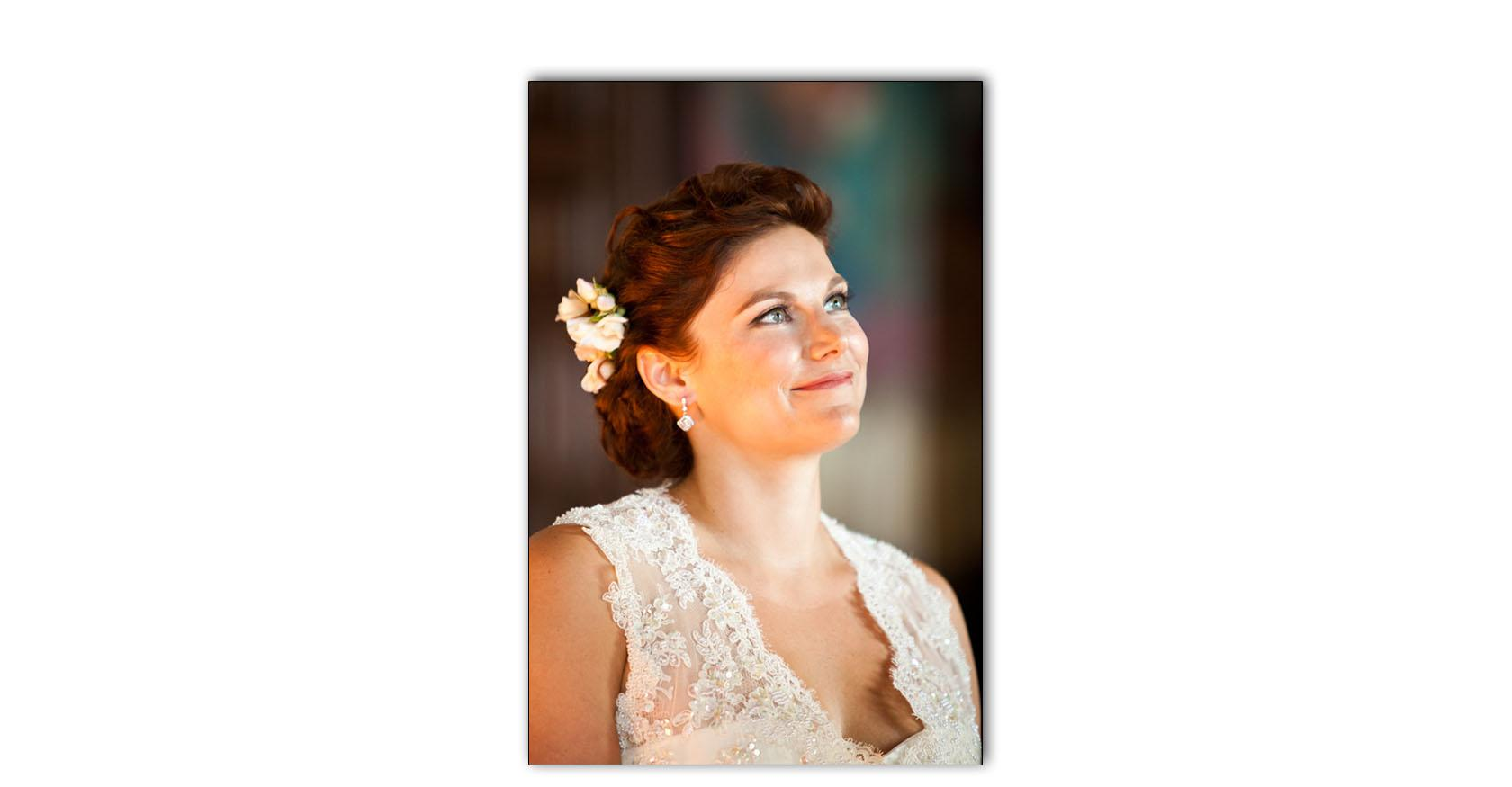 Bride glowing during wedding ceremony in Santa Barbara California Courthouse