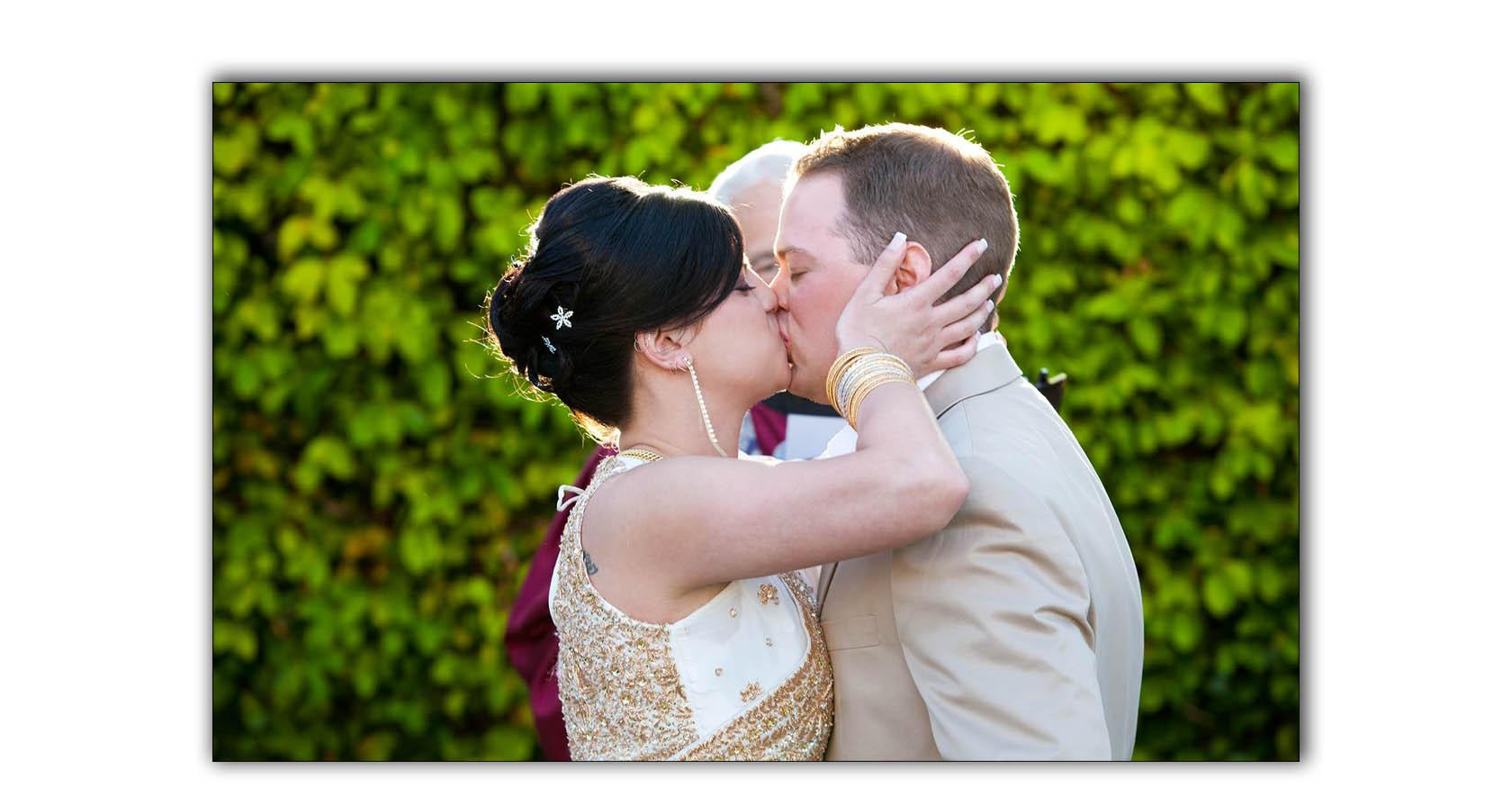 Wedding ceremony perfect altar kiss San Diego Marriott wedding ceremony
